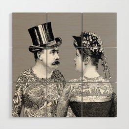 Tattooed Victorian Lovers Wood Wall Art