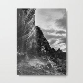 Waterfall Sunset at Otter Crest Beach, Oregon Metal Print