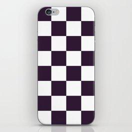 Large Checkered - White and Dark Purple iPhone Skin