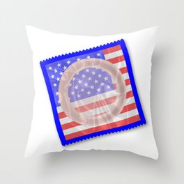 Stars And Stripes Condom Throw Pillow