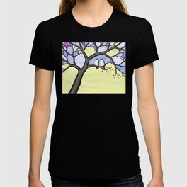 tree swallows in the stained glass tree T-shirt
