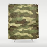 camo Shower Curtains featuring Dirty Camo by Bruce Stanfield