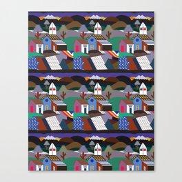 Andean Village Patchwork Tapestry Kilim Canvas Print