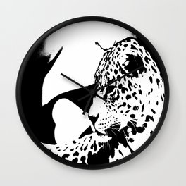 Black And White Wildcat #decor #society6 Wall Clock