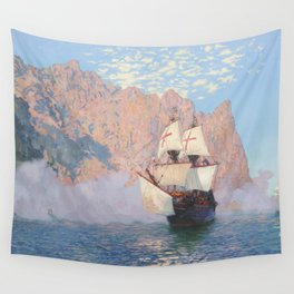 New Albion. Sir Francis Drake's ship Golden hind Wall Tapestry