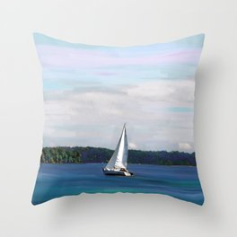 Fall Sailing on the Susquehanna River, Nautical Art, Maryland  Throw Pillow