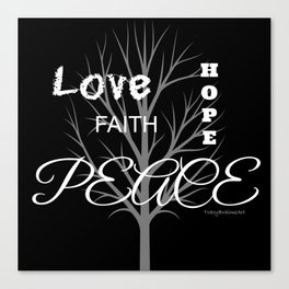 Inspiration Love Tree - Black Canvas Print