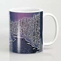finland Mugs featuring Winter river in Lapland Finland  by Guna Andersone & Mario Raats - G&M Studi