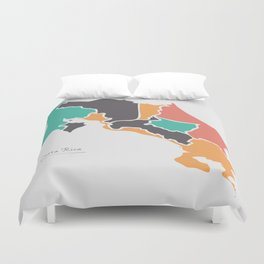 Costa Rica Map with states and modern round shapes Duvet Cover