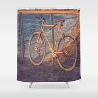 conan Shower Curtains featuring The Bike by Sharon RG Photography
