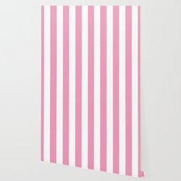 Amaranth pink - solid color - white vertical lines pattern Wallpaper