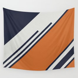 Retro Stripes in Blue Orange Wall Tapestry