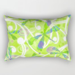 Dragonflies on the Fly /spring green Rectangular Pillow