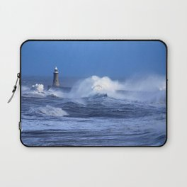 beacon sea ocean storm waves blows wind bad weather Laptop Sleeve