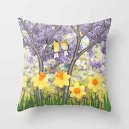goldfinches, lilacs, & daffodils Throw Pillow