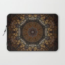 Rich Brown and Gold Textured Mandala Art Laptop Sleeve
