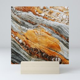 Gray Copper Marbled Petrified Wood Mini Art Print