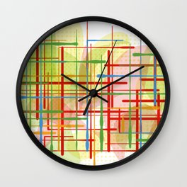 Abstract Lines Shapes Green and Yellow Wall Clock