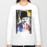 charlie chaplin Long Sleeve T-shirts featuring charlie chaplin by manish mansinh