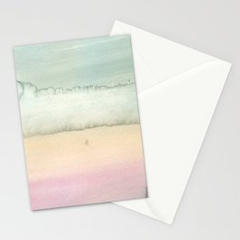 Hand painted pink ivory green watercolor paint Stationery Cards