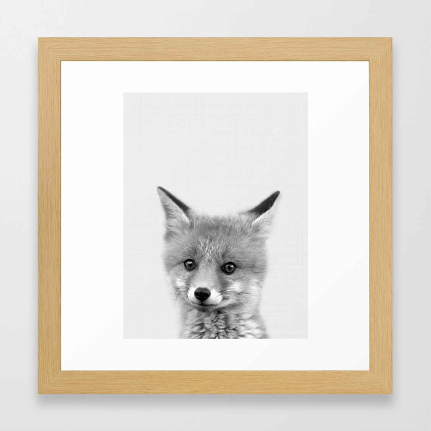 Black And White Fox Print Wall Art Nursery Decor Animal Baby Prints Framed