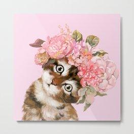Baby Cat with Flower Crown Metal Print