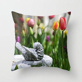 A Bird And A Tulip Throw Pillow