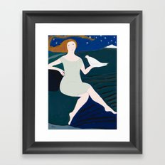 Lady with White Bird Framed Art Print