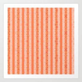 Living Coral Color Doodle Stripes Art Print