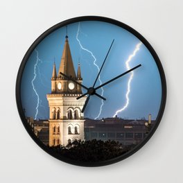 Lightning wall art, lightning church, lightning prints, storm wall art, messina stampa Wall Clock