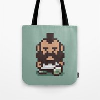 earthbound Tote Bags featuring Mr. T ... Is that you? Earthbound / Mother 2 by Studio Momo╰༼ ಠ益ಠ ༽
