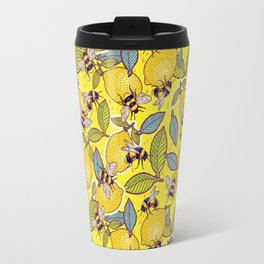 Yellow lemon and bee garden. Travel Mug