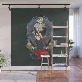 Mermaid with rococo hairstyle and art nouveau frame Wall Mural