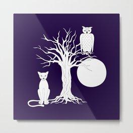 owl, cat, moon and tree Metal Print