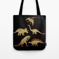 dinosaurs Tote Bags featuring Dinosaurs by chobopop
