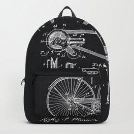 Vintage Bicycle patent illustration 1890 Backpack