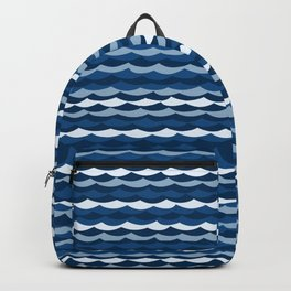 Classic Blue Wave Pattern Backpack