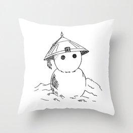 Cute Asian Snowman Throw Pillow
