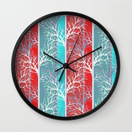 Red blue abstract trees striped lined Wall Clock
