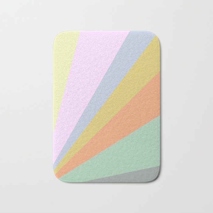 Pastel Rainbow Sunburst Illustration Bath Mat