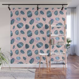 Modern pink teal watercolor hand painted stones floral Wall Mural