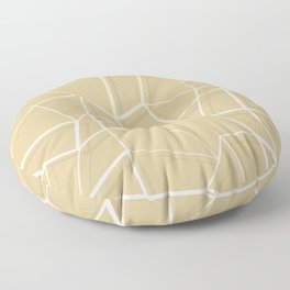 Floating Shapes Gold - Mid-Century Minimalist Graphic Floor Pillow