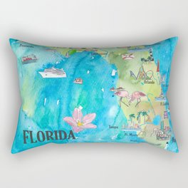 USA Florida State Fine Art Print Retro Vintage Map with Touristic Highlights Rectangular Pillow