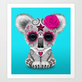 Pink and Blue Day of the Dead Sugar Skull Baby Koala Bear Art Print