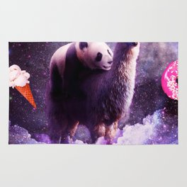 Outer Space Panda Riding Llama Unicorn - Donut Rug
