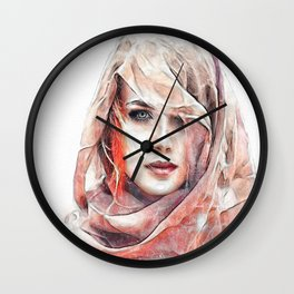 Girl under the scarf Wall Clock