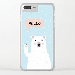 Cute Polar Bear in the Snow says Hello Clear iPhone Case