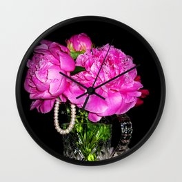 Peony Bouquet in a Crystal Vase Wall Clock
