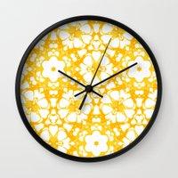 batik Wall Clocks featuring batik floral by clemm