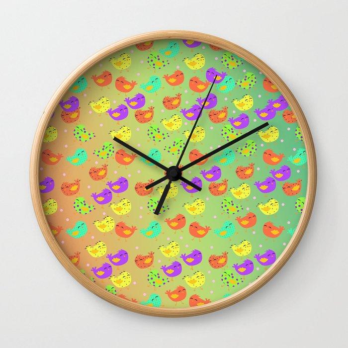 colorful happy birds party Wall Clock